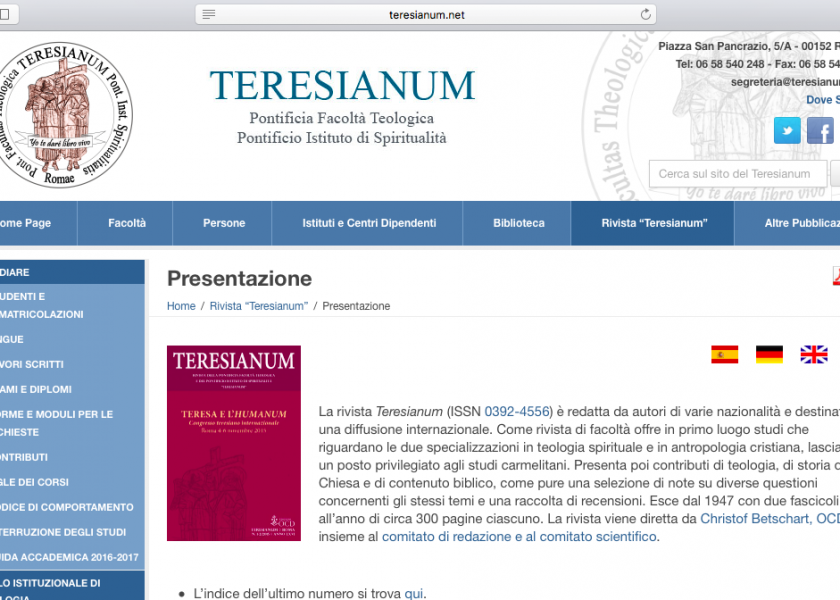 The Teresianum periodical is online